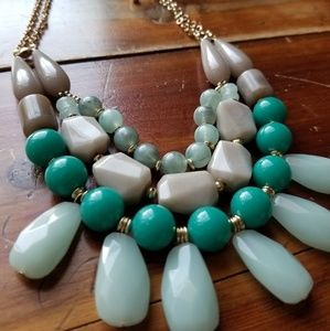 Seafoam Green and Tan Necklace & Earring Set